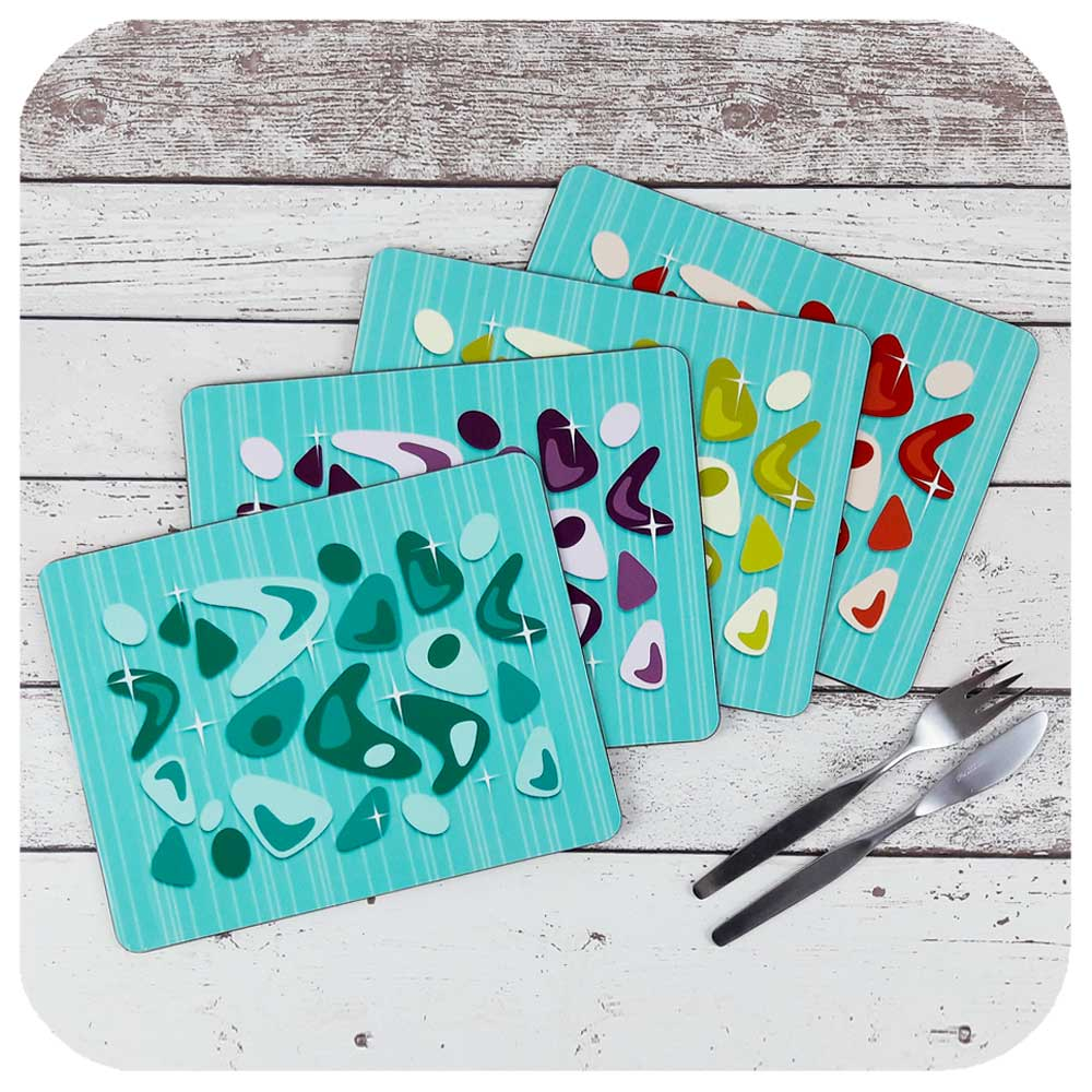 Set of four Turquoise Atomic Boomerang Placemats  | The Inkabilly Emporium