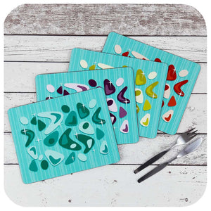 Atomic Boomerang Placemats in Turquoise - set of four | The Inkabilly Emporium