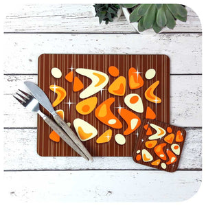 Atomic Boomerang Placemat & Coaster Set, Orange on Teak | The Inkabilly Emporium