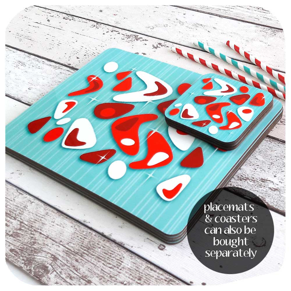 Atomic Boomerang placemats & coasters can also be bought as separate sets | The Inkabilly Emporium