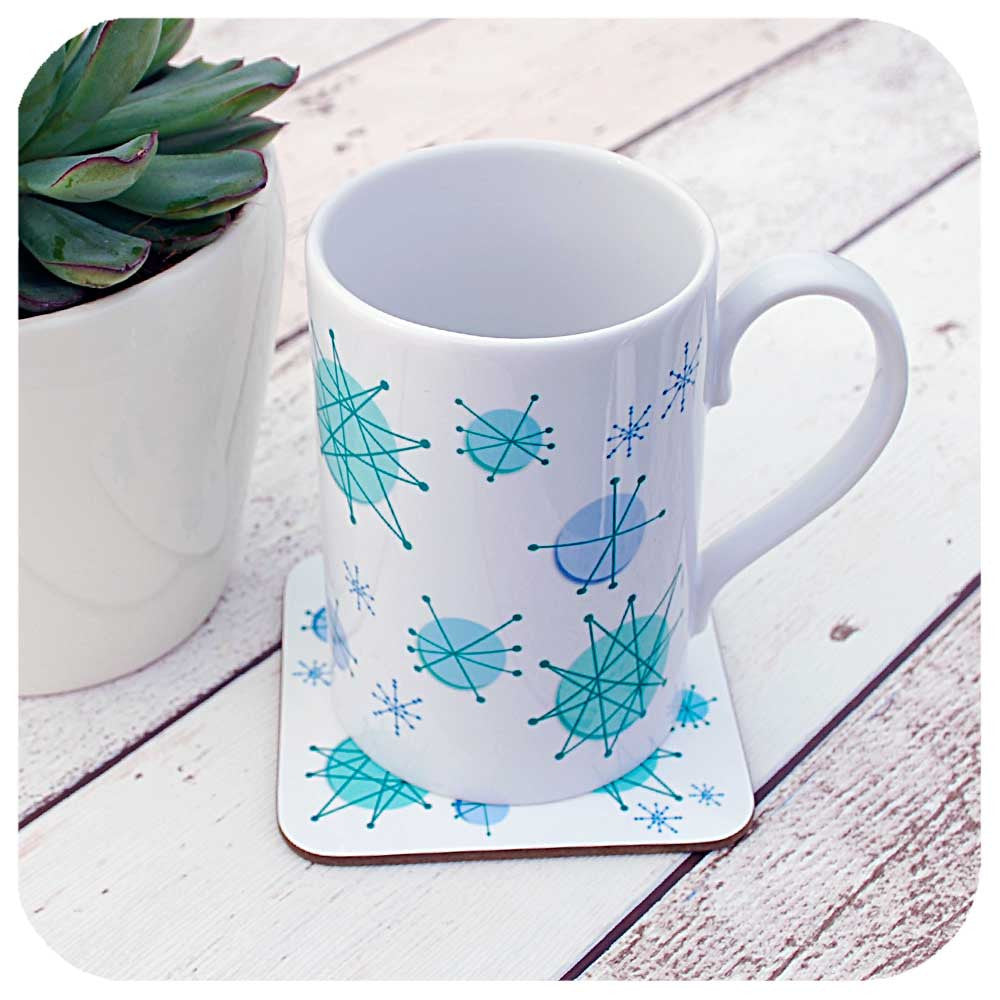 Atomic Starburst Mug with matching coaster | The Inkabilly Emporium