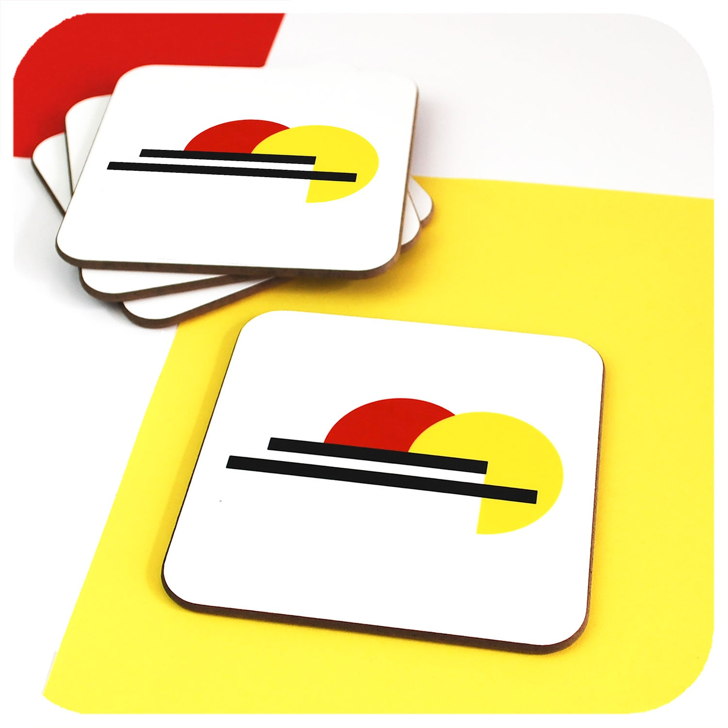 Bauhaus Coasters, set of 4, with one coaster set forward | The Inkabilly Emporium