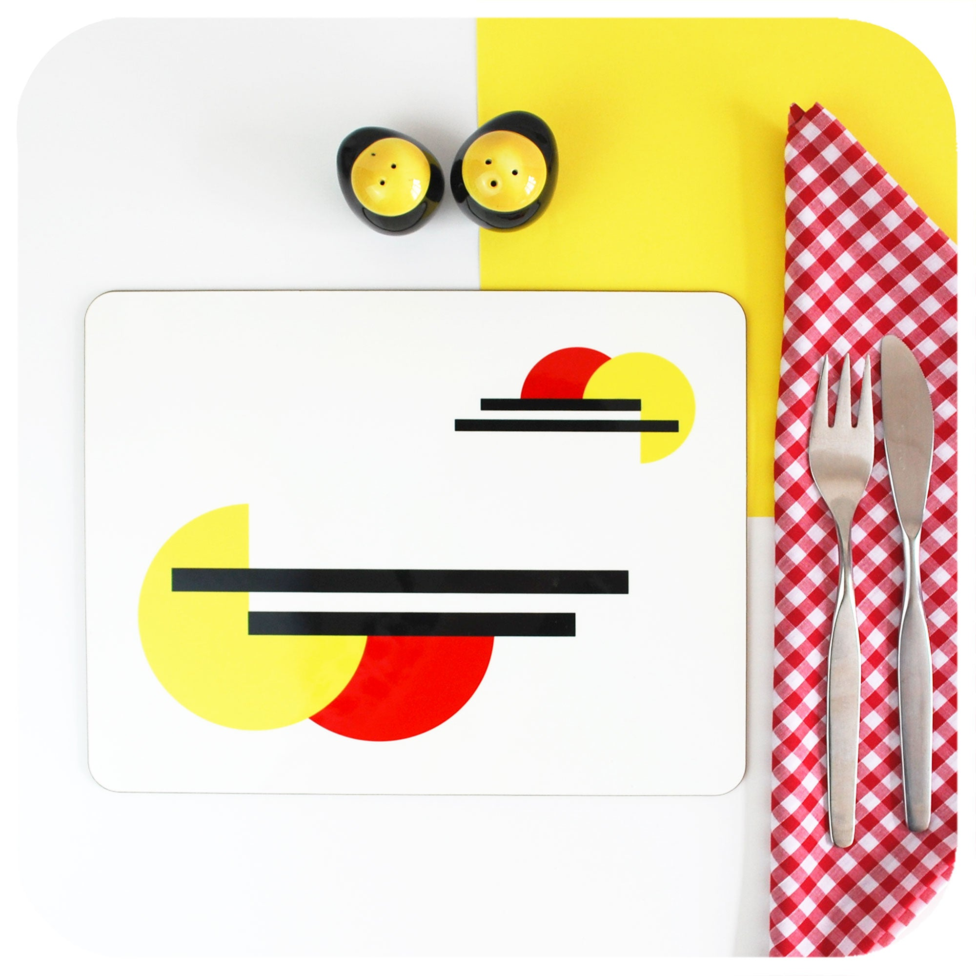 Bauhaus Placemat with cutlery on gingham napkin and mid century cruet set | The Inkabilly Emporium | The Inkabilly Emporium