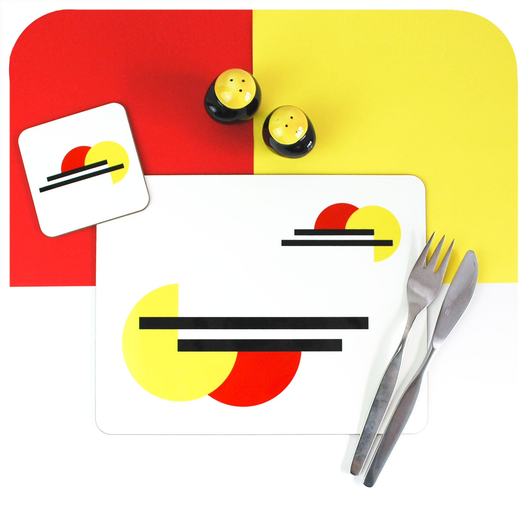 Bauhaus inspired, modernist style Placemat & Coaster set | The Inkabilly Emporium