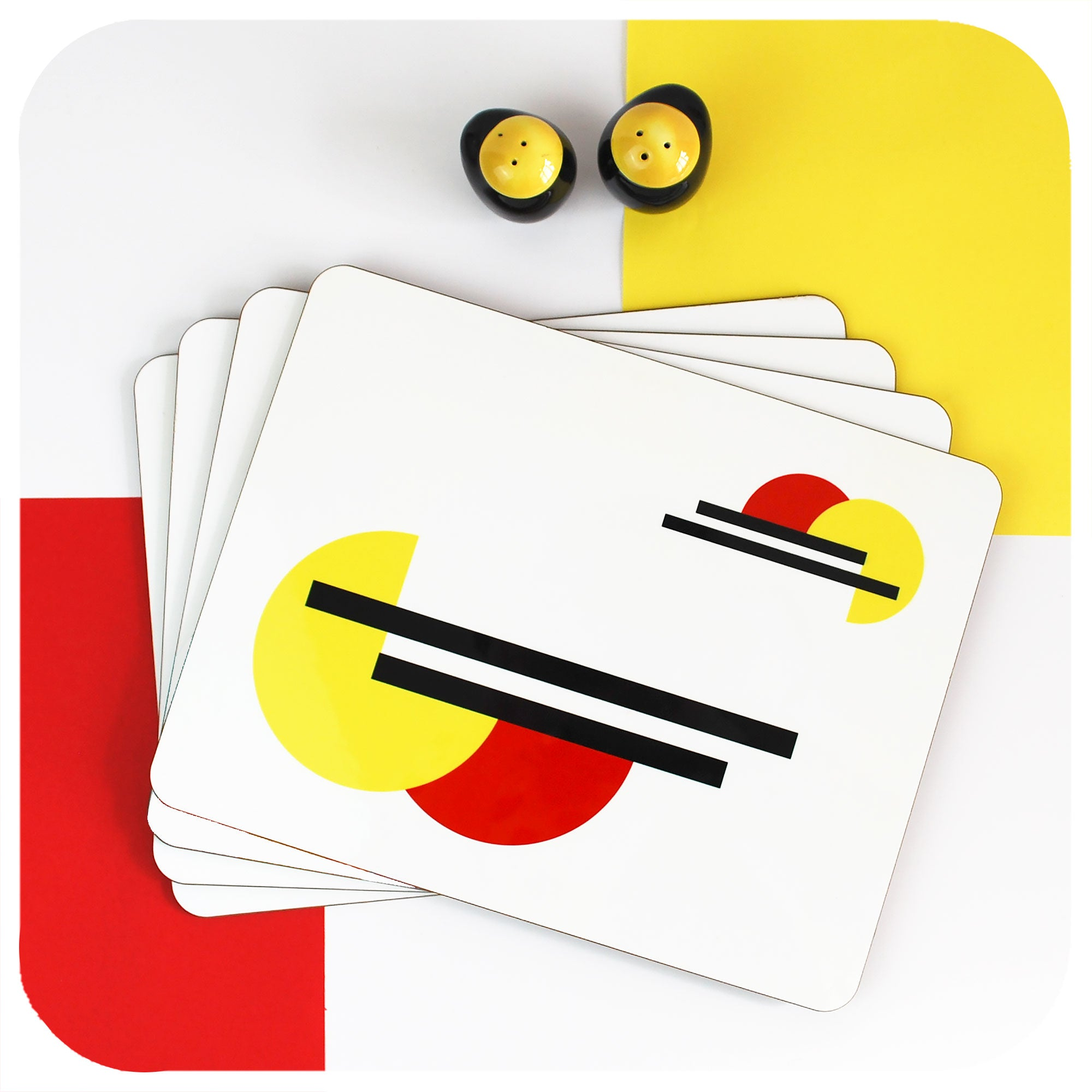 Bauhaus Placemats, set of 4 in a stack with vintage salt & pepper shakers | The Inkabilly Emporium