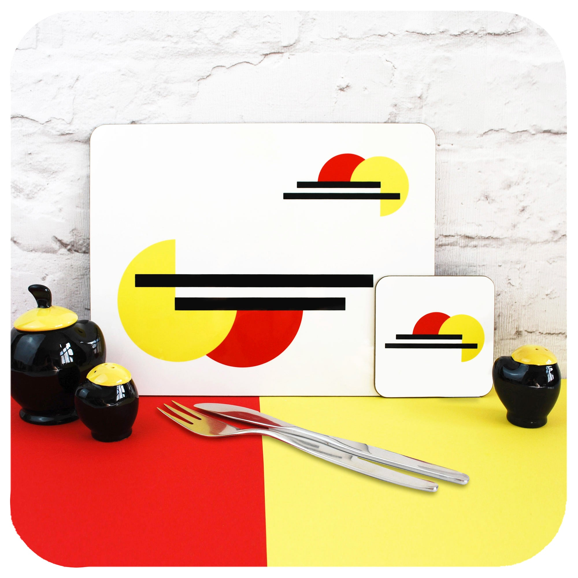 Bauhaus style placemat and coaster with vintage cruet set and cutlery | The Inkabilly Emporium