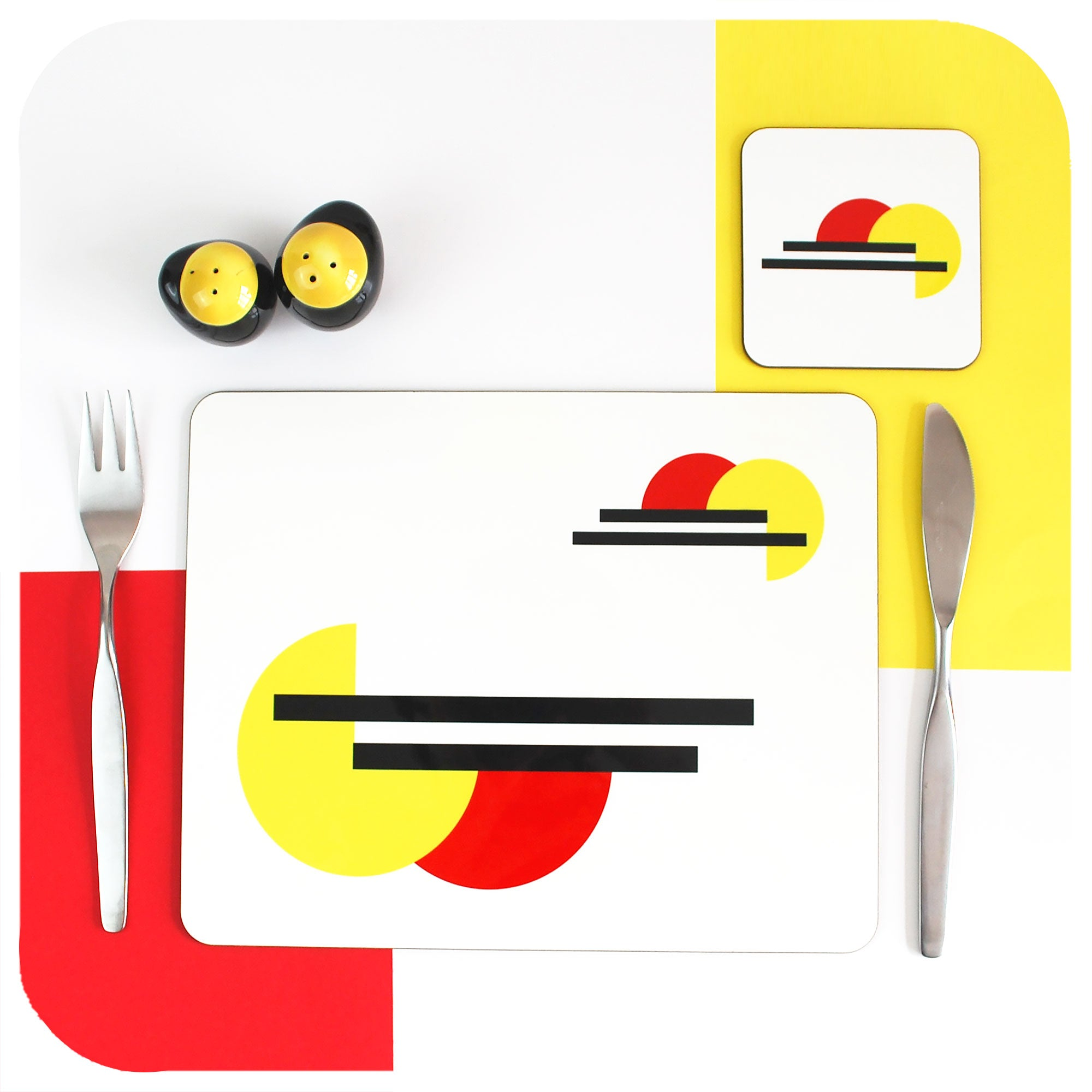 Bauhaus Placemat and matching coaster, set with mid century cutlery and cruet set| The Inkabilly Emporium
