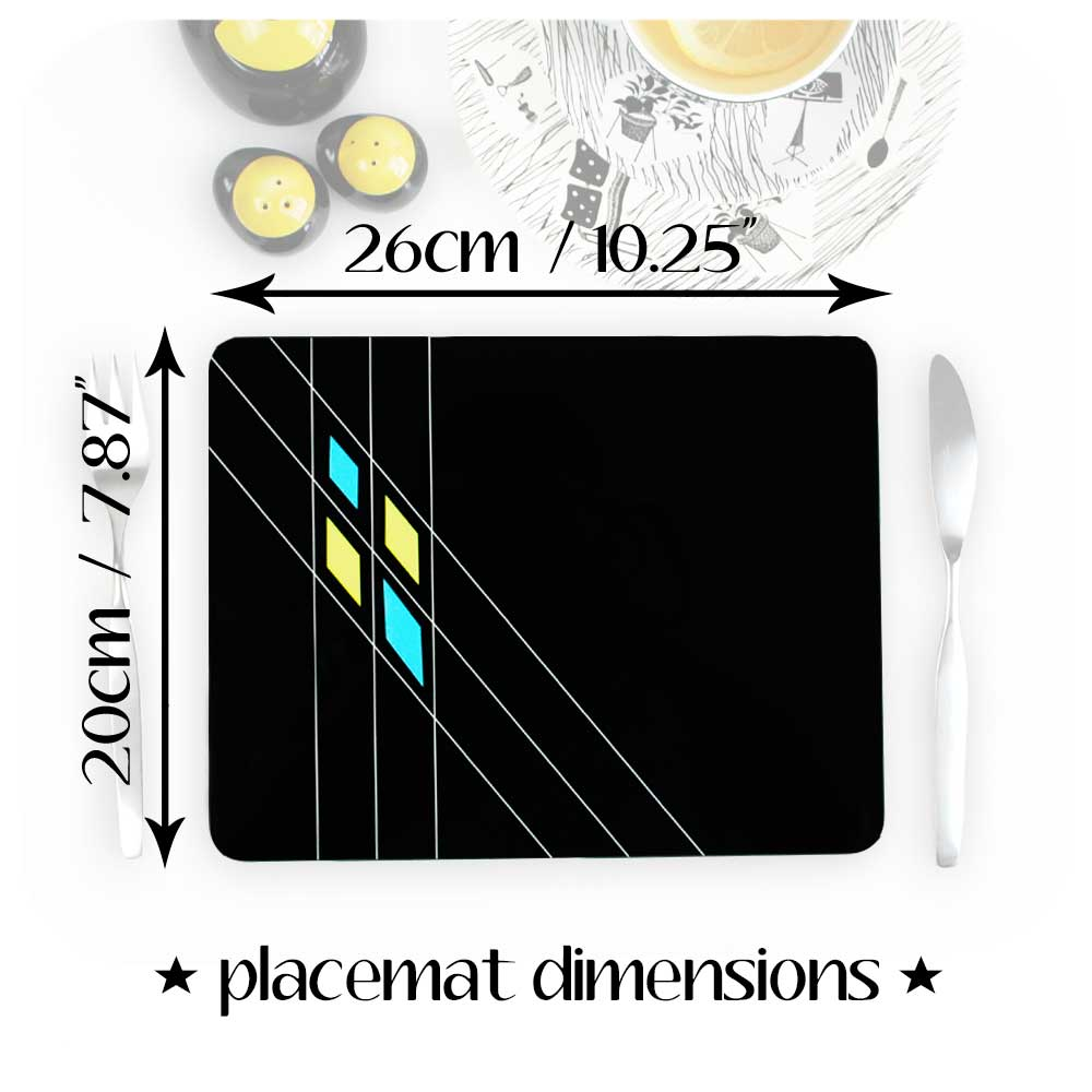 Black Mid Century Geometric Placemat dimensions | The Inkabilly Emporium