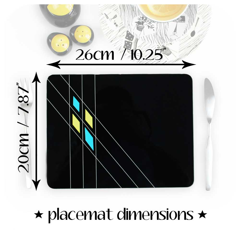 Dimensions for our Mid Century Geometric Placemats = Standard UK Size | The Inkabilly Emporium