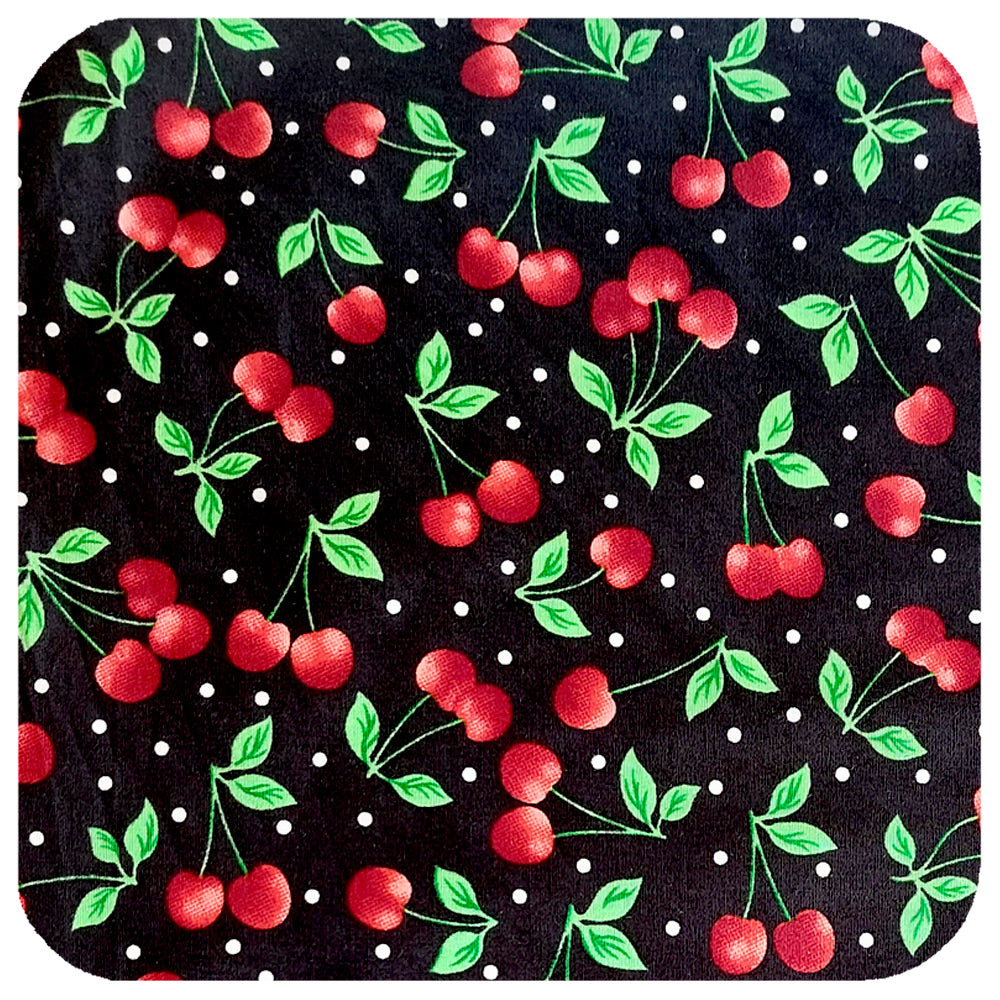 Black Cherries Bandana - close up of fabric| The Inkabilly Emporium