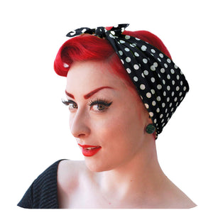 Black Polka Dot Bandana | The Inkabilly Emporium