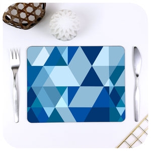 Scandi Geometric Placemat in Blue, with mid century cutlery and table decor | The Inkabilly Emporium