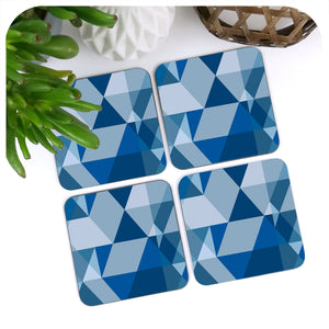 Scandi Geometric Coasters in Blue and Grey | The Inkabilly Emporium