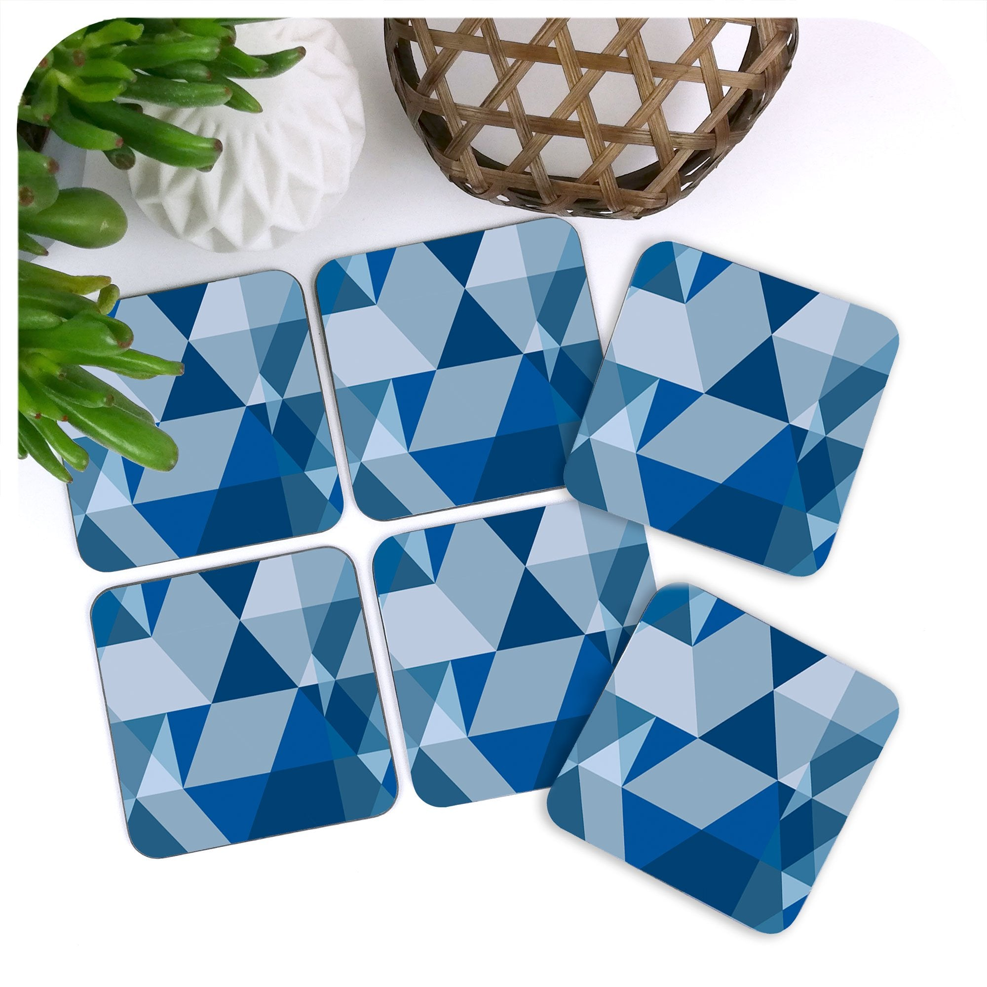 Scandi Geometric Coasters in Blue, set of 6 scattered on a table | The Inkabilly Emporium