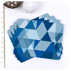 Scandi Geometric Placemats in Blue, set of 4 in a fan | The Inkabilly Emporium