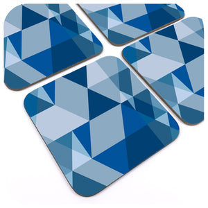 Set of four Scandi Geometric Coasters in Blue and Grey | The Inkabilly Emporium