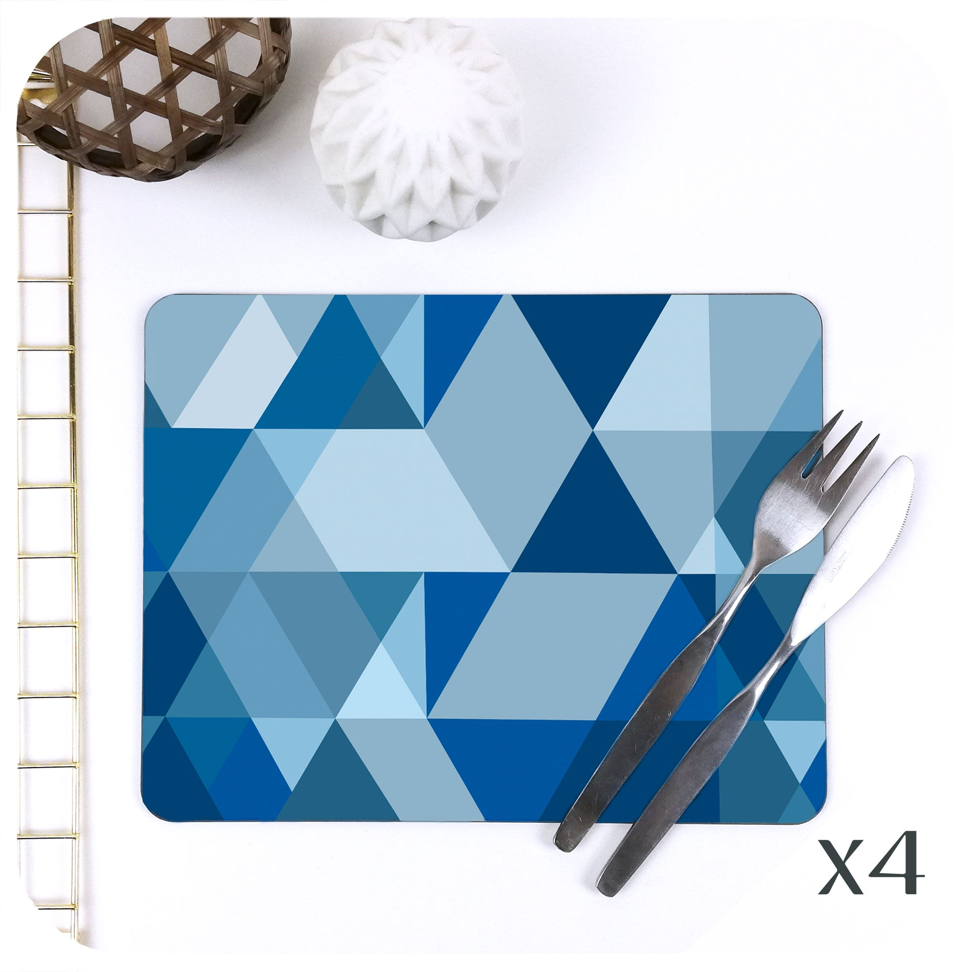Scandi Geometric Placemats in Blue, set of 4 | The Inkabilly Emporium