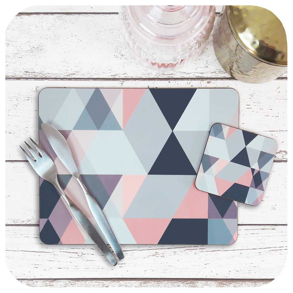 Geometric Scandi style Tableware in Pink and Grey. Placemat and matching coaster | The Inkabilly Emporium