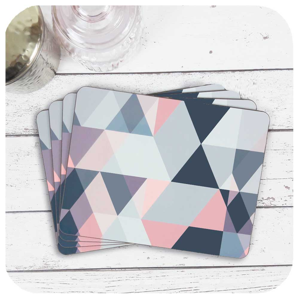 Set of four Blush Pink and Grey Placemats. An original Geometric Design by Inkabilly
