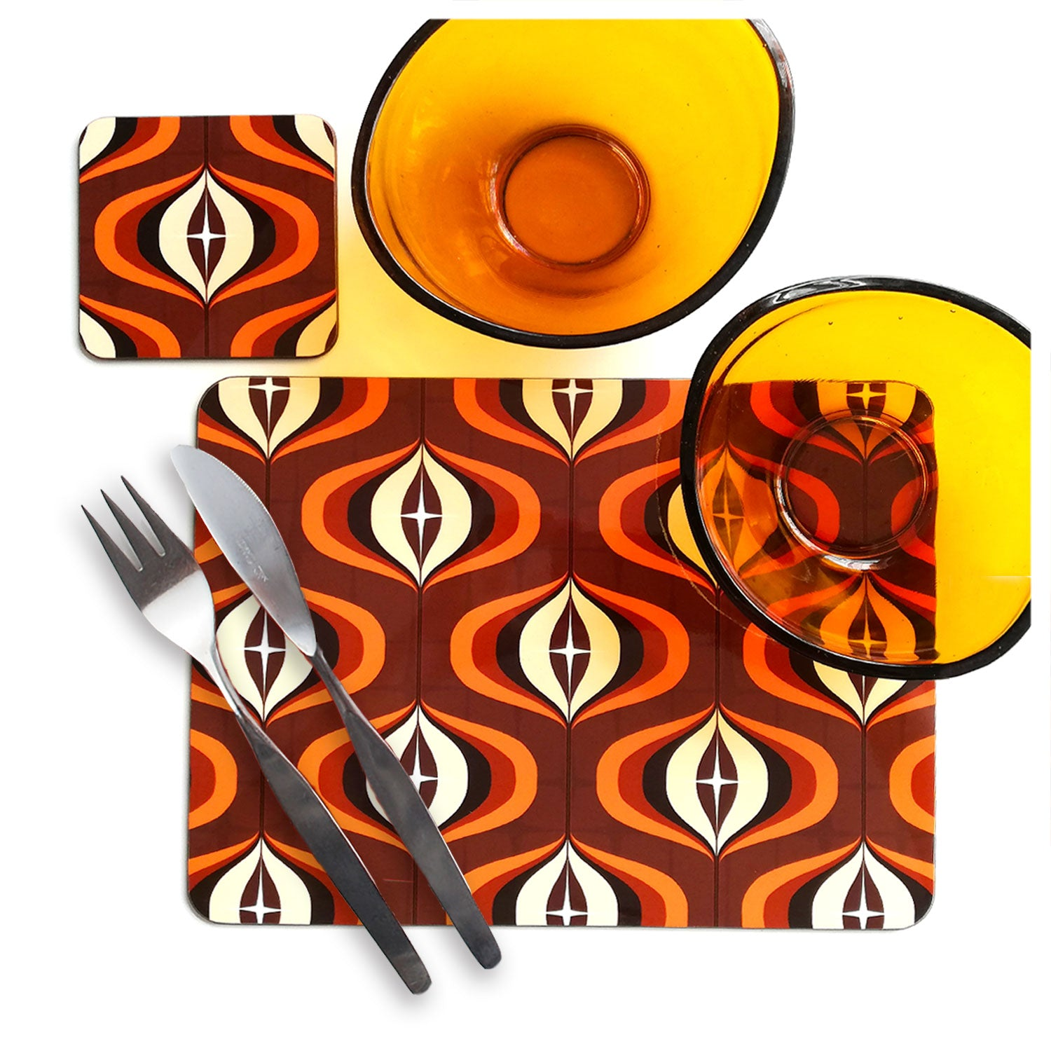 1970s Op Art Placemat & Coaster in Brown and Orange with vintage bowls and cutlery | The Inkabilly Emporium