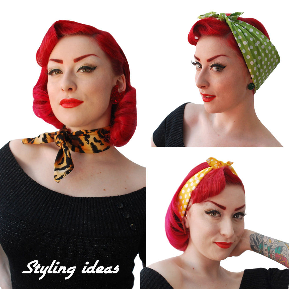 Styling ideas for Inkabilly Bandanas, three ways of wearing a retro headscarf, modelled by Miss Jessica Holly | The Inkabilly Emporium