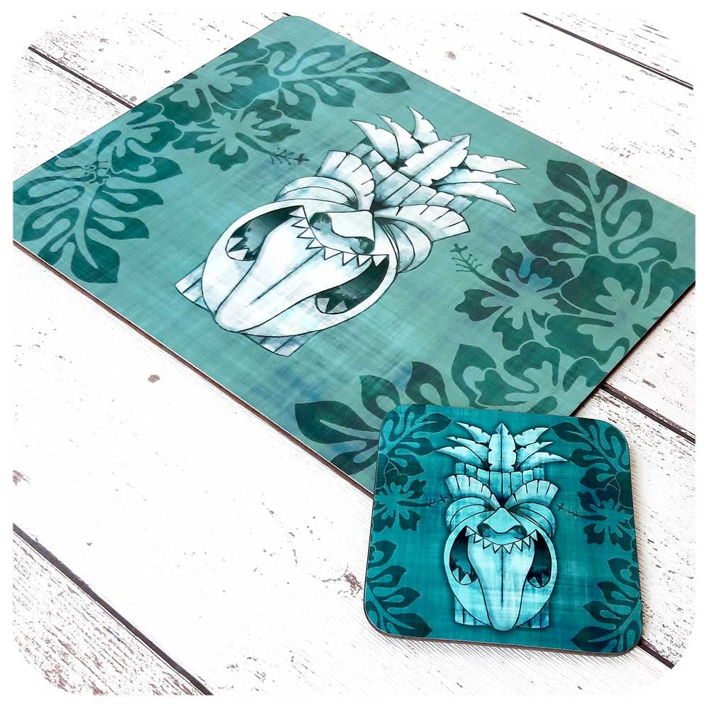Blue Tiki Mask Tableware Set | The Inkabilly Emporium