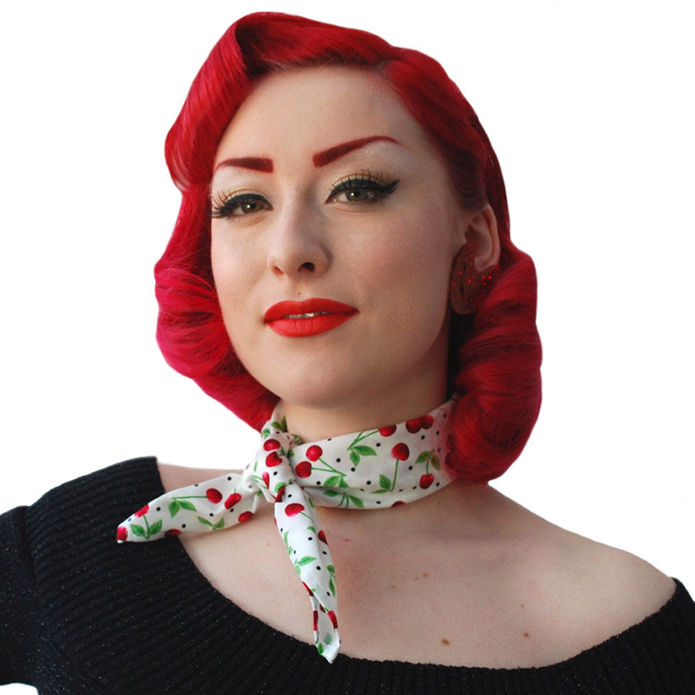 Cherry bandana worn as a necktie  | The Inkabilly Emporium
