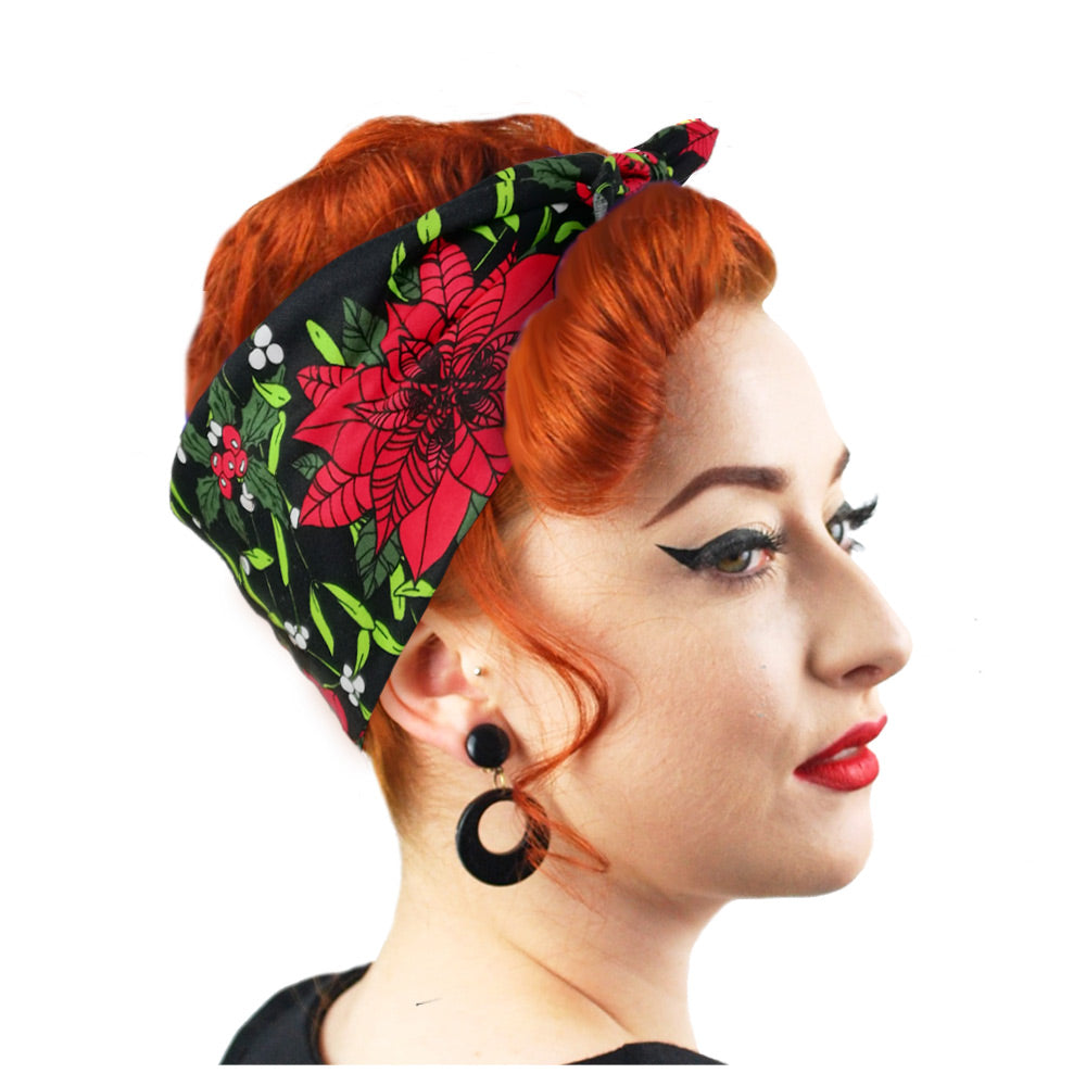Christmas Bandana modelled by Retro Pin-up model | The Inkabilly Emporium