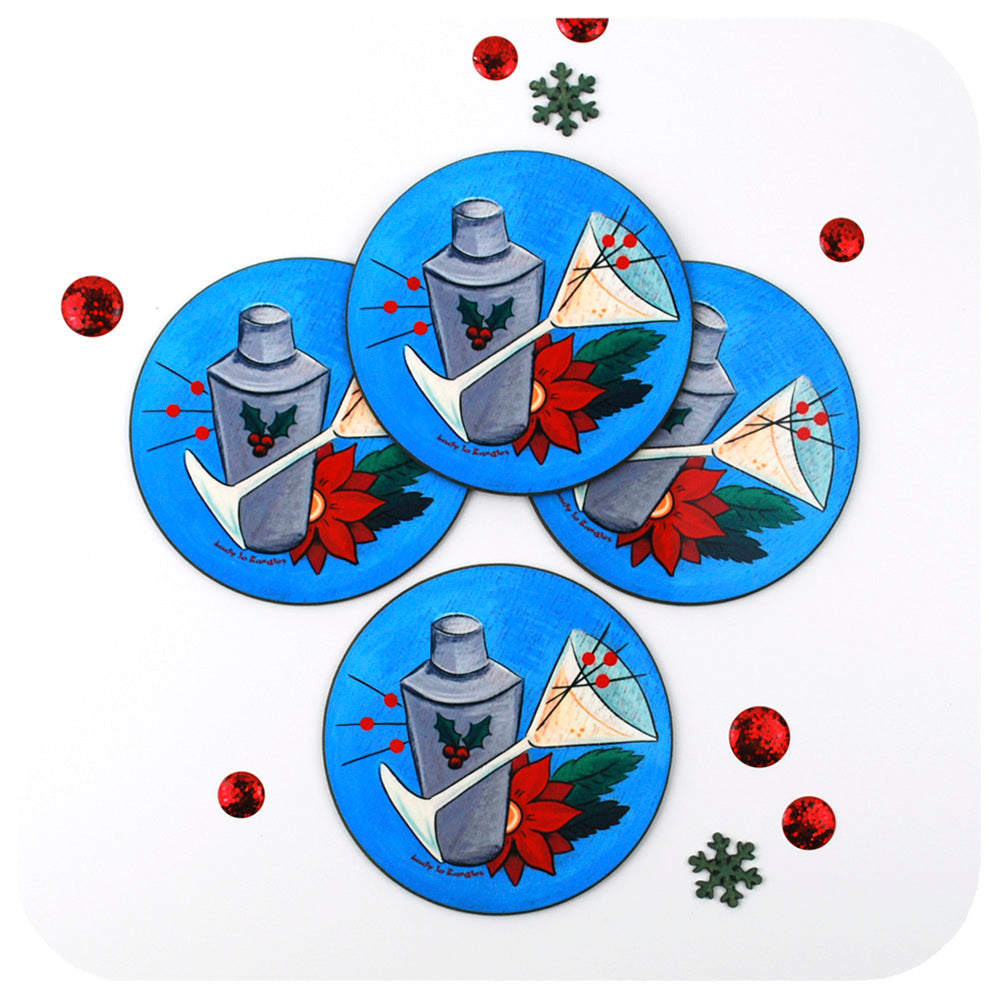 Set of 4 Festive Retro Cocktail Coasters | The Inkabilly Emporium with Ladyjo Bangles