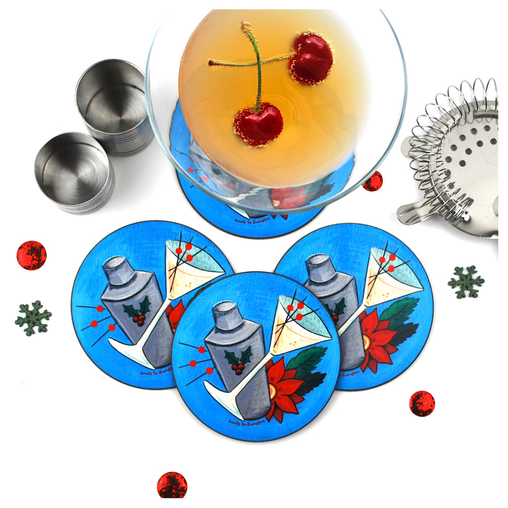 Retro Christmas Cocktail Coasters, set of 4 | The Inkabilly Emporium with Ladyjo Bangles
