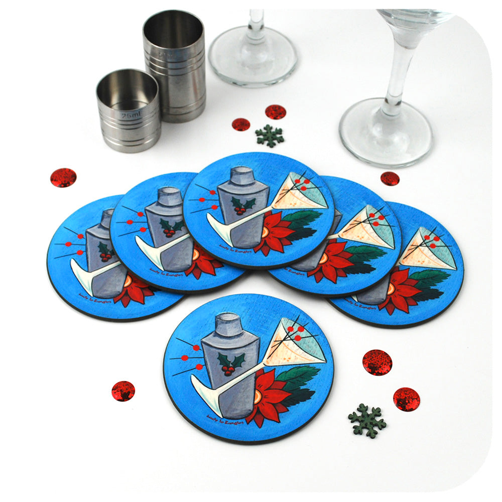 Retro Christmas Cocktail Coasters, set of 6 | The Inkabilly Emporium with Ladyjo Bangles