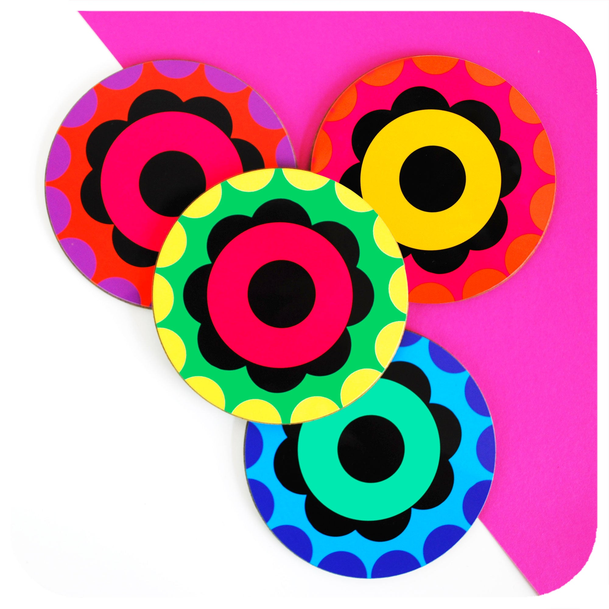 Four 60s Style Flower Power round coasters | The Inkabilly Emporium