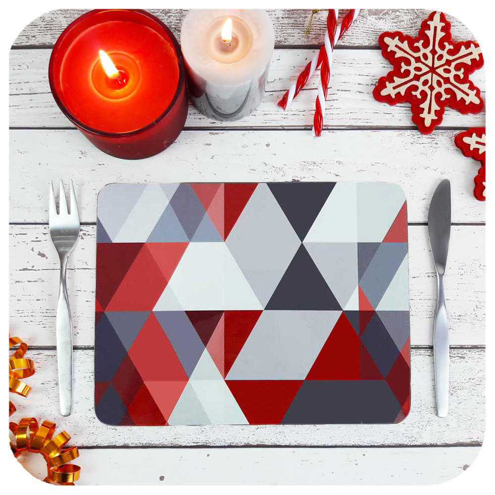 Red & Grey Scandi Geometric Placemat set on a table with christmas decorations | The Inkabilly Emporium