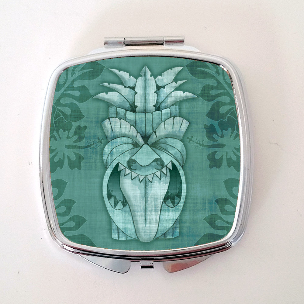 Tiki Compact Mirror, Blue | The Inkabilly Emporium