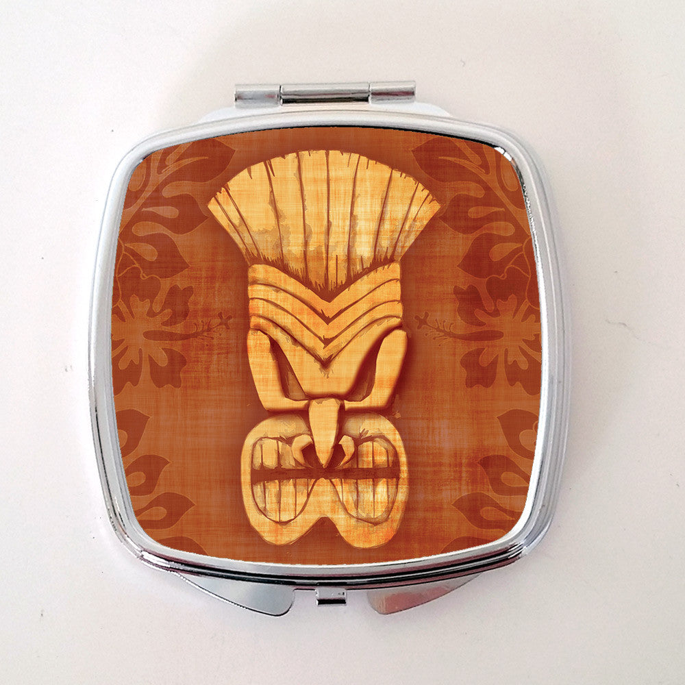 Tiki Compact Mirror, Brown | The Inkabilly Emporium