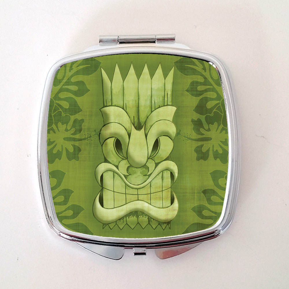 Tiki Compact Mirror, Green | The Inkabilly Emporium