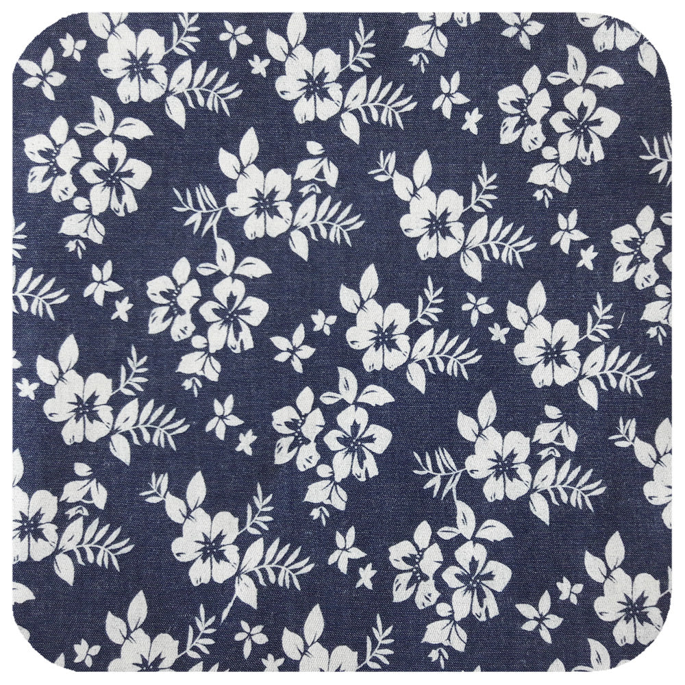 White Hibiscus on Denim-look Cotton Head Scarf | The Inkabilly Emporium
