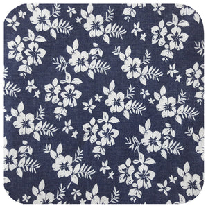 Floral Denim Bandana - White Hibiscus on Blue Denim Headscarf | The Inkabilly Emporium