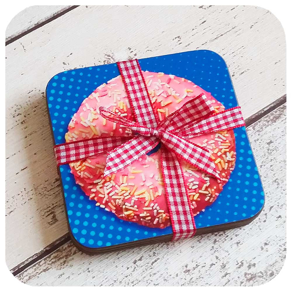 Donut Coaster set wrapped in cute gingham ribbon | The Inkabilly Emporium