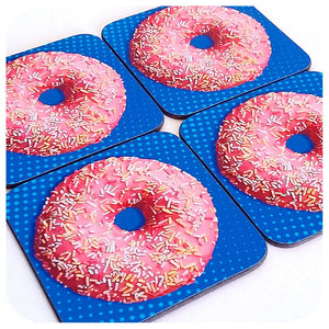 Pink Donut Coasters, set of four | The Inkabilly Emporium