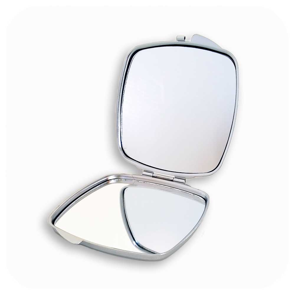 Clam style compact mirror with engraved back | The Inkabilly Emporium