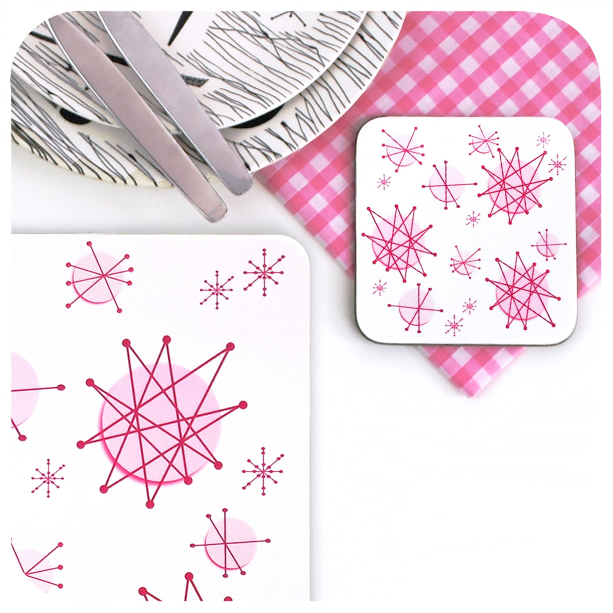 Pink Atomic Starburst Placemat & Coaster, close up | The Inkabilly Emporium