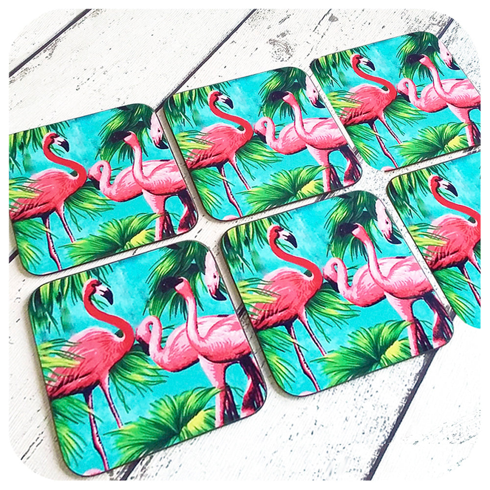 Flamingo Coasters, Set of 6 | The Inkabilly Emporium