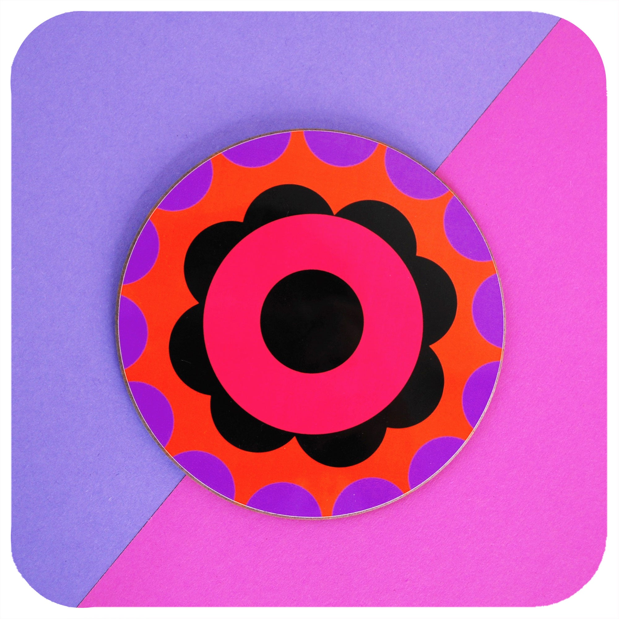 One 60s Flower Power round coaster on colourful pink and purple background | The Inkabilly Emporium