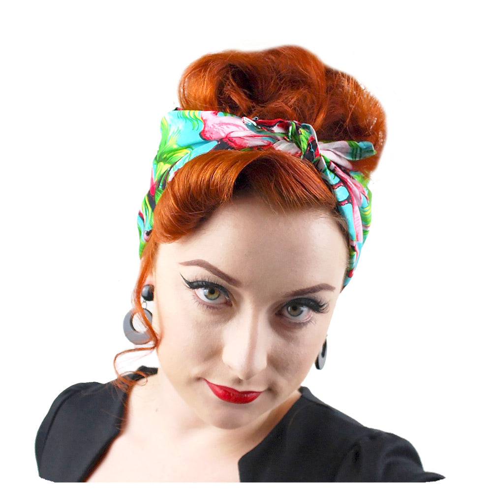 Flamingo bandana modelled by Miss Jessica Holly | The Inkabilly Emporium