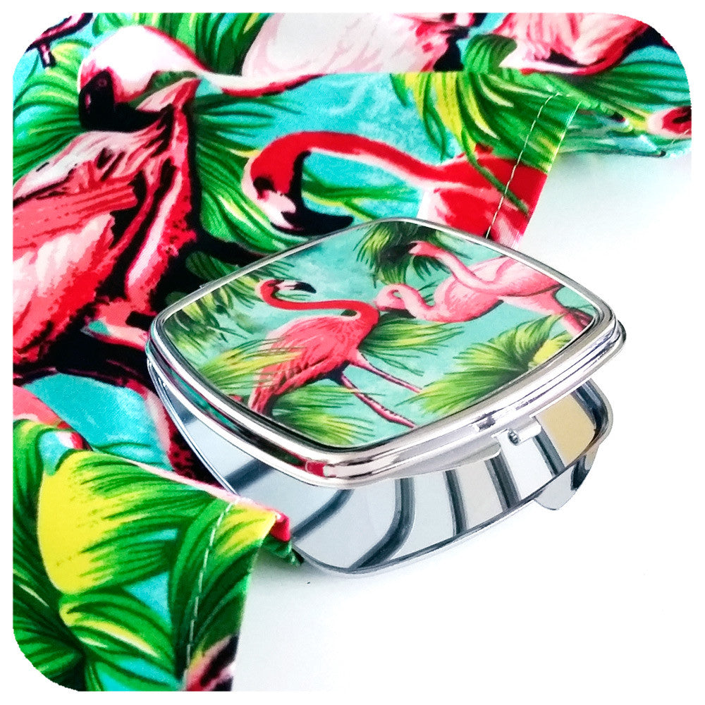 Flamingo Gift Set, matching flamingo bandana and compact mirror | The Inkabilly Emporium
