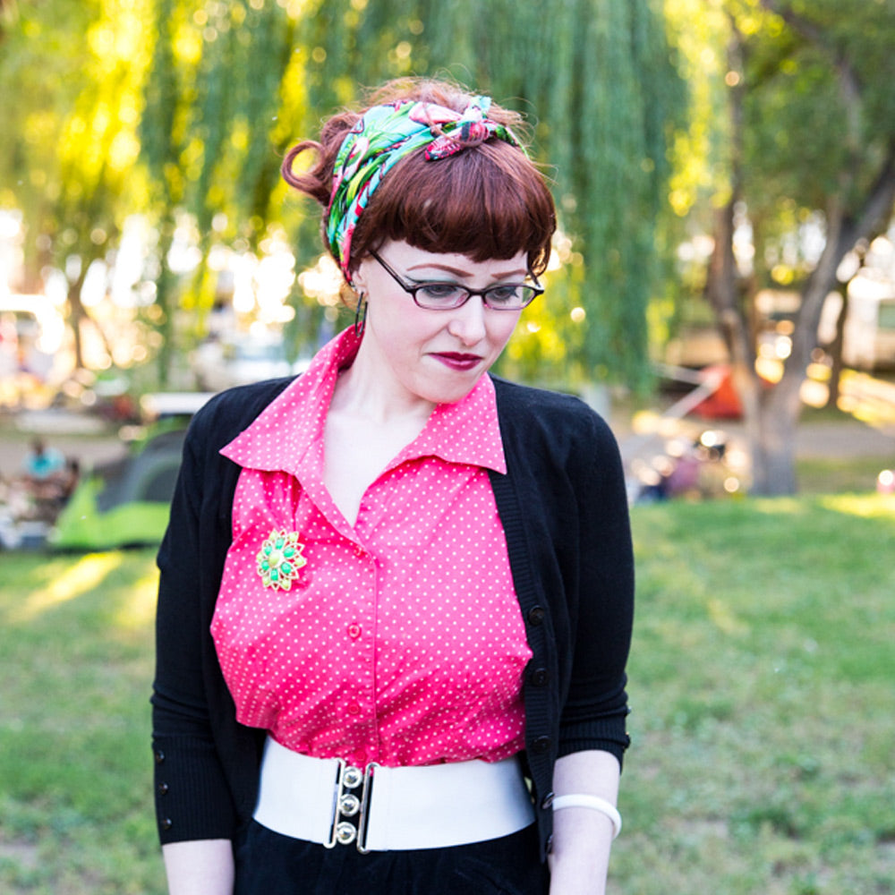Flamingo bandana modelled by Jessica from Chronically Vintage Blog | The Inkabilly Emporium