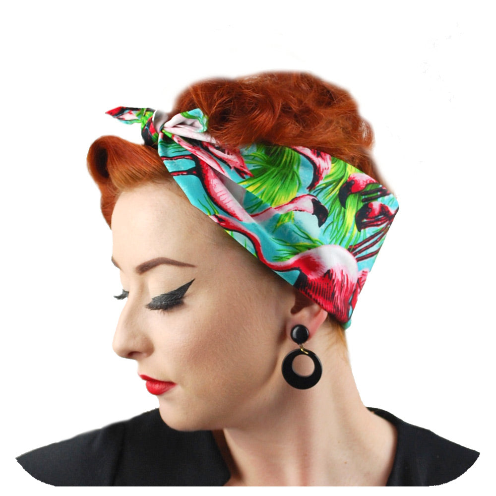 Flamingo bandana, side view modelled by Miss Jessica Holly | The Inkabilly Emporium