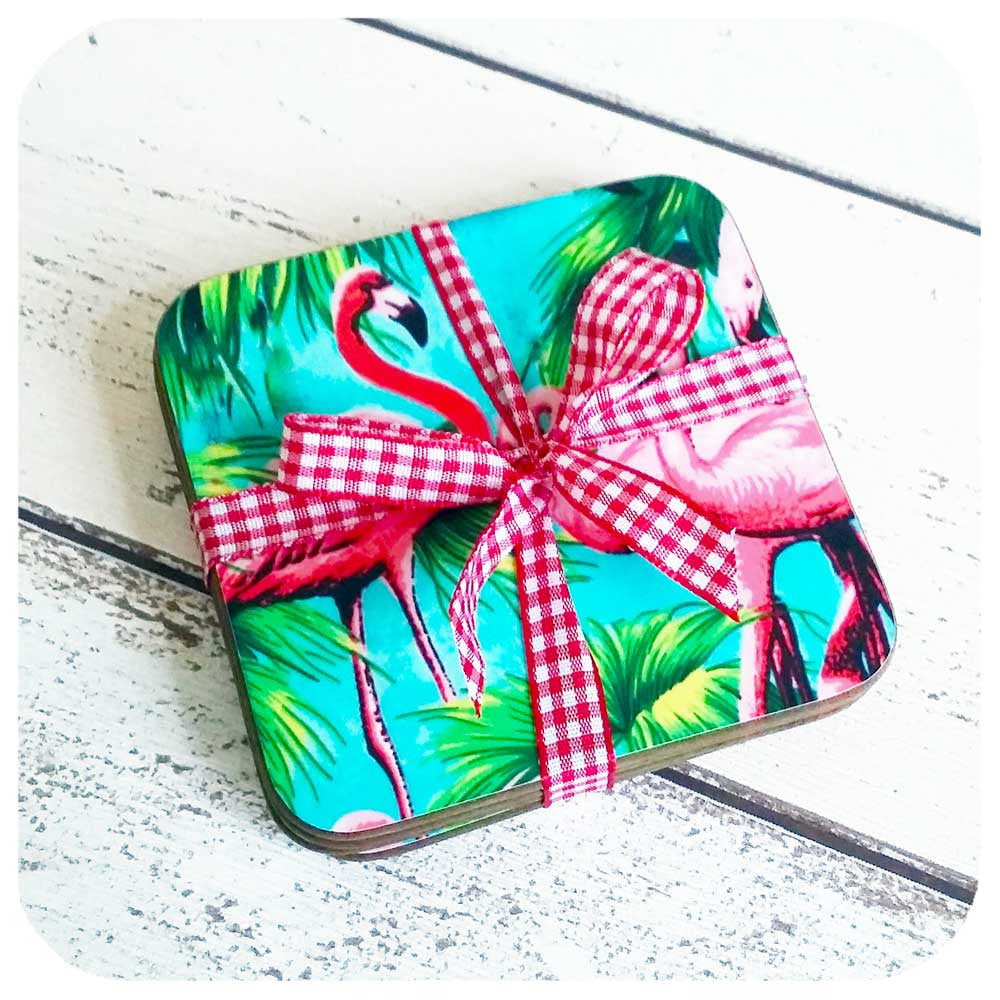 Flamingo Coaster Set comes wrapped in cute gingham ribbon | The Inkabilly Emporium