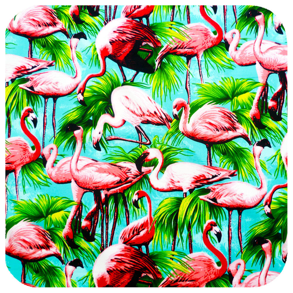 Pink Flamingos on Turquoise, Retro head scarf  | The Inkabilly Emporium